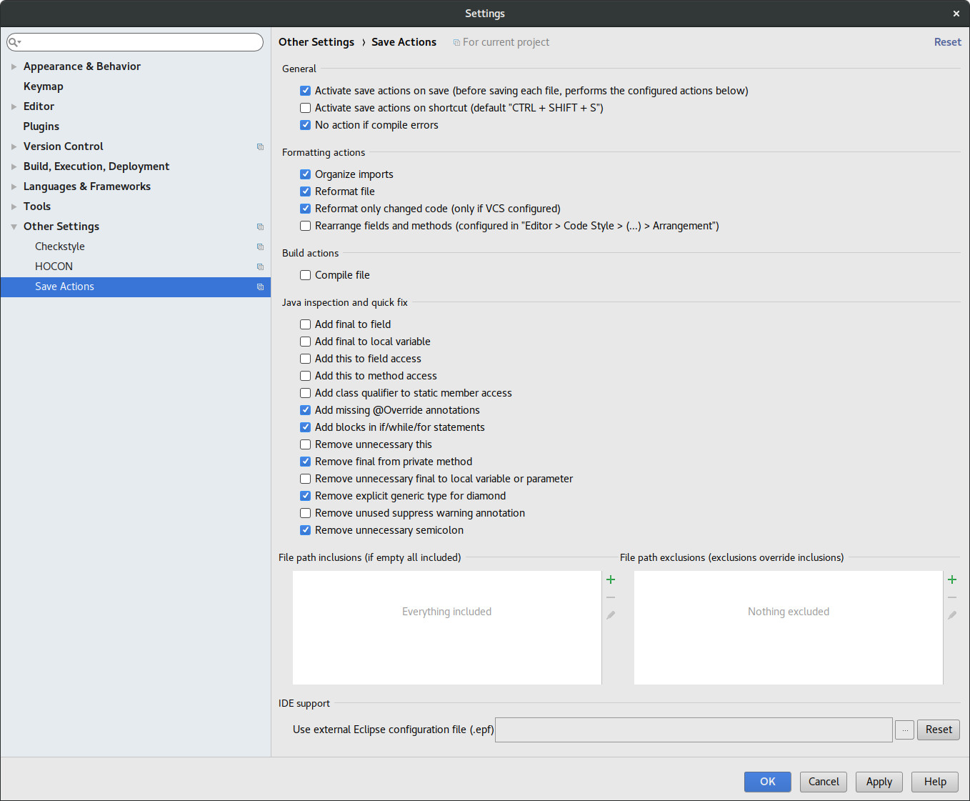 Intellij Save Actions Plugin Settings Page Java