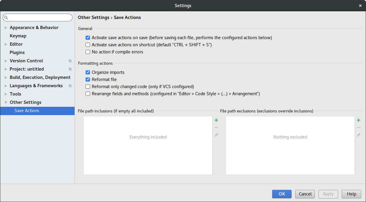 Intellij Save Actions Plugin Settings Page